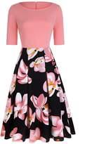OLADY Women's Vintage Patchwork Half Sleeve Slim Fit Floral Swing Cocktail Dress (S, )