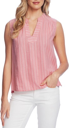 Vince Camuto Surfboard Stripe Split Neck Sleeveless Cotton & Linen Blouse