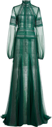 Costarellos Evita Lace-Detailed Sequined Dotted-Tulle Maxi Dress