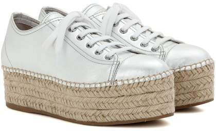 Miu Miu Platform metallic leather sneakers