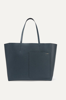Valextra Shopping Textured-leather Tote - Petrol