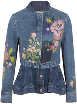 Alexander McQueen Layered Embroidered Denim Jacket - Mid denim