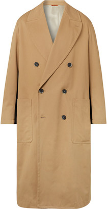 Barena Double-Breasted Felt-Trimmed Cotton-Gabardine Trench Coat