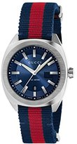 Gucci Men's Swiss Quartz Stainless Steel and Nylon Dress Watch, Color:Blue and Red (Model: YA142304)