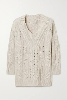 Agnona Cable-knit Cashmere And Linen-blend Sweater - Beige