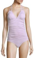 L-Space Nora Shirred Solid One-Piece