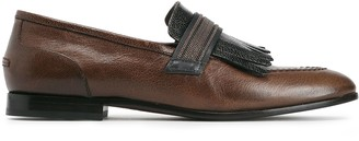 Brunello Cucinelli Fringed Bead-embellished Metallic Smooth And Textured-leather Loafers