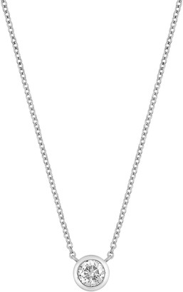 Bony Levy 14K White Gold Bezel Set Diamond Solitaire Pendant Necklace - 0.16 ctw
