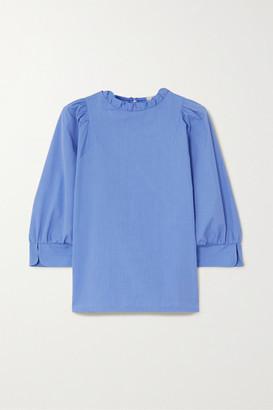 Atlantique Ascoli Ruffled Cotton-poplin Blouse - Blue