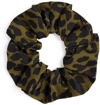 Ganni Leopard Print Jacquard Scrunchie