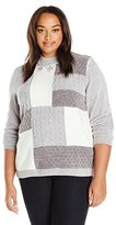 Alfred Dunner Women's Color Block Cable Knit Mock Neck Sweater