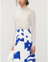 Issey Miyake Turtleneck semi-sheer textured woven top