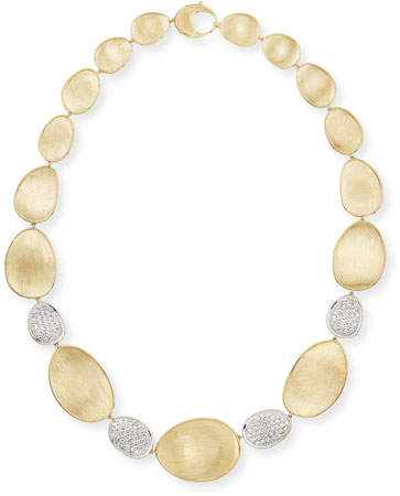 "Marco Bicego Diamond Lunaria 18k Gold 4-Pave Necklace, 18""L"