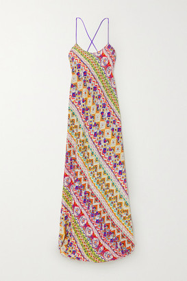 Etro Open-back Printed Crepe De Chine Maxi Dress - Coral