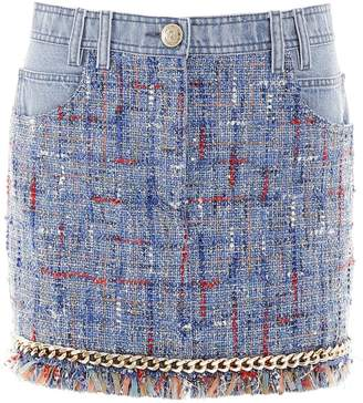 Balmain Fringed Denim Skirt