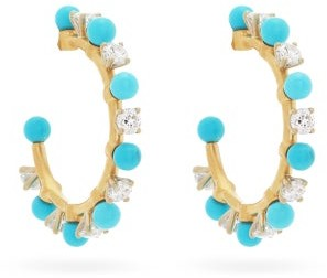 Irene Neuwirth Diamond, Turquoise & 18kt Gold Hoop Earrings - Yellow Gold
