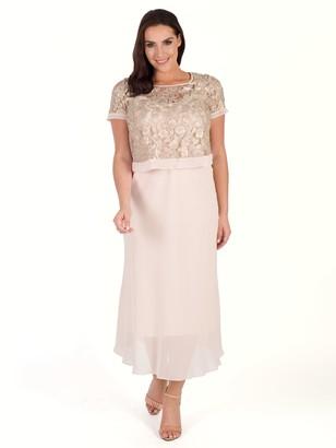 Chesca Trellis Applique Lace And Chiffon Dress, Pink