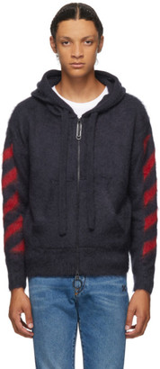 Off-White Navy Brushed Mohair Diag Zip-Up Hoodie