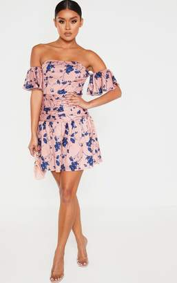 PrettyLittleThing White Floral Print Bardot Pleated Waist Skater Dress