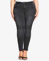 City Chic Trendy Plus Size Charcoal Wash Skinny Jeans