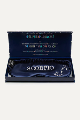 Slip Scorpio Embroidered Mulberry Silk Eye Mask - Navy