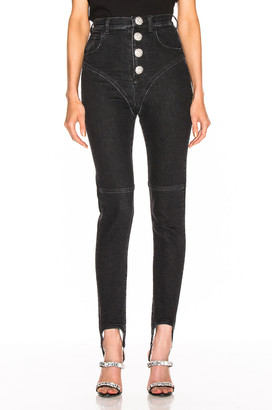 Alessandra Rich High Waisted Crystal Button Stirrup Jean in Black | FWRD