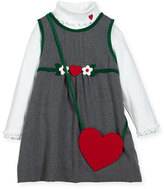 Florence Eiseman Jumper w/ Ribbed Turtleneck Blouse & Heart Purse, Size 2-6X