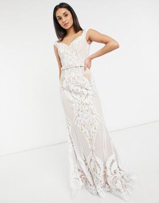 Jovani bridal bardot dress in white