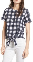 Madewell Women's Plaid Tie Front Blouse