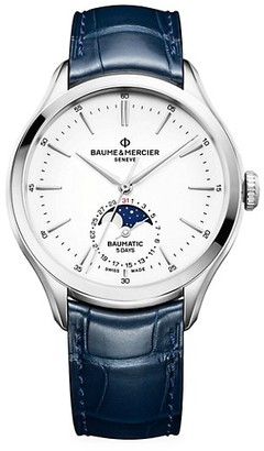 Baume & Mercier Clifton Baumatic Stainless Steel & Alligator Strap Date Moon Phase Chronometer Watch