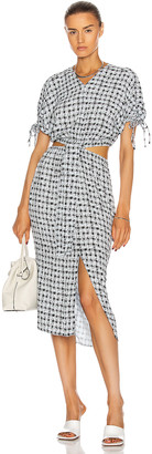 Proenza Schouler White Label Short Sleeve Cut Out Dress in Toast & Black Gingham | FWRD