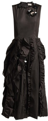 Simone Rocha 4 Moncler Ruffled Midi Dress - Womens - Black