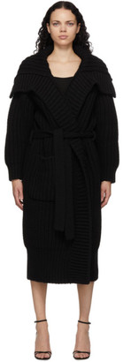 Dolce & Gabbana Black Virgin Wool and Cashmere Rib Knit Cardigan