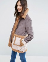 Asos Faux Shearling Coat in Patchwork