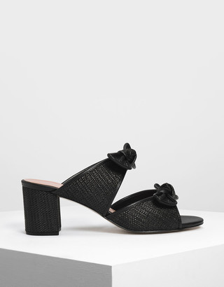 Charles & Keith Double Bow Raffia Heeled Slide Sandals