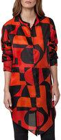Akris Geometric-Print Organza Tunic, Red/Black