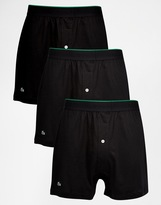 Lacoste Knit Boxers In 3 Pack - Black