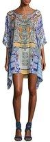 Camilla Printed Embellished Short Caftan Coverup, Multicolor