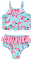 Starting Out Baby Girls 12-24 Months Flamingo Ruffled Tankini Two-Piece Swimsuit