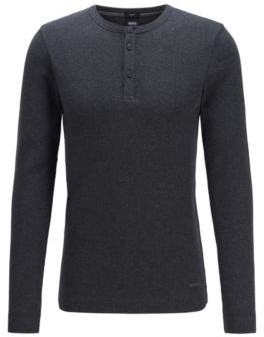 BOSS Slim-fit Henley T-shirt in heather waffle cotton