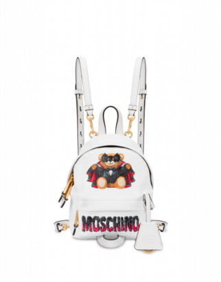 Moschino Bat Teddy Bear Mini Backpack Woman White Size U It - (one Size Us)