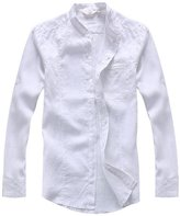utcoco Men's Classic Banded Collar Long Sleeves Light Linen Shirts