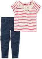Carter's 2-Pc. Striped Crochet Top & Denim Leggings Set, Baby Girls (0-24 months)