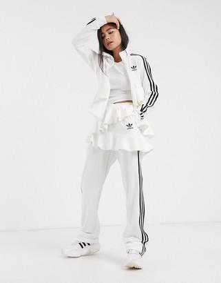 adidas x J KOO velour trefoil ruffle track pant in off white