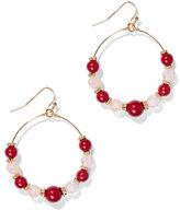New York & Co. Beaded Goldtone Hoop-Drop Earrings