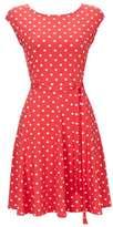 Wallis Petite Coral Polka Dot Fit And Flare Dress