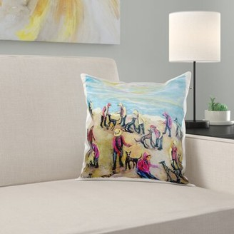 East Urban Home Beach Party, Hounds and Kids Play in September Pillow Cover