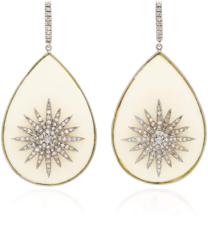 Amrapali 14K Gold Diamond And Bakelite Earrings