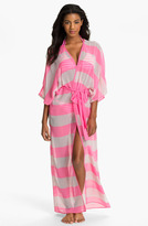 Ted Baker 'Neon Stripe' Long Wrap Cover-Up Bright Pink Medium