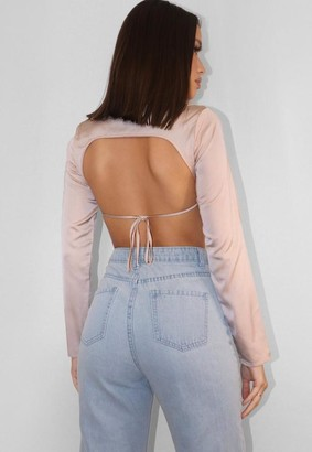 Missguided Blush Satin Long Sleeve Open Back Crop Top